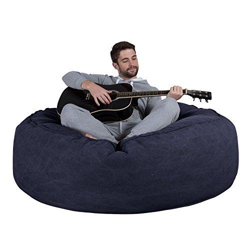 Lounge Pug, 'Mega-Mammoth' Sofa Sitzsack XXL, Schlafsofa, Stonewashed-Stoff Marineblau