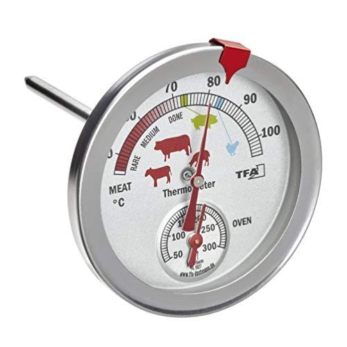 TFA Dostmann Analoges Braten- / Ofenthermometer 14.1027, Edelstahl, silber