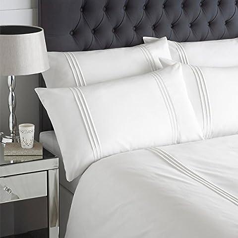 Linens Limited - Parure Linear - housse de couette/taie d'oreiller - plissé - blanc - 2 personnes (Super King)