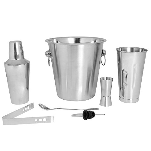 Kosma Cocktail Set aus 7 Stück Edelstahl | Barware-Kit Bar Tools Set - Set Inklusive: Champagner Eimer 21 x 21cm, Cocktail Shaker 500ml, Peg Measurer 30x60ml, Bar Mischen Löffel 8
