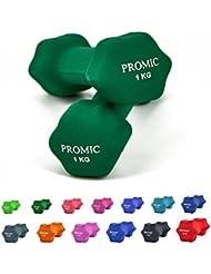 Promic Fitness pesas juego de mancuernas con revestimiento de neopreno entrenamiento aeróbico pesas para un agarre antideslizante, set de 2, Verde oscuro, 2 x 1 kg