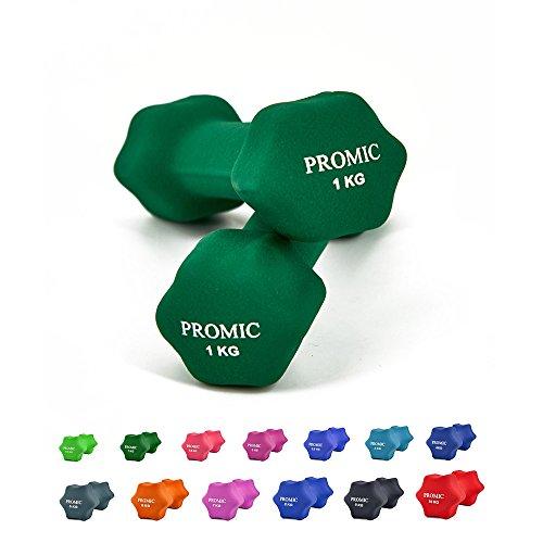 PROMIC  Neopren Hanteln Gewichte für Gymnastik Kurzhanteln- ideal für Aerobic & leichtes Fitnesstraining, 13 verschiedene Gewichte und Farben zur Auswahl (2er-Set), 2 x 1 kg, Dunkelgrün