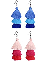 Nawab Boho Gypsy Mirror Tassel And Eanmel Earring For Girls And Women (pack Of 2 Pair)- BLUE AND PINK