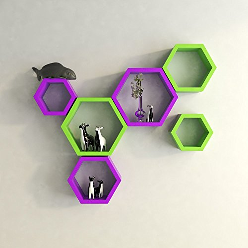 GrayWood Hexagon Shape Wall Shelf Set of 6 | Green & Purple  available at amazon for Rs.1899