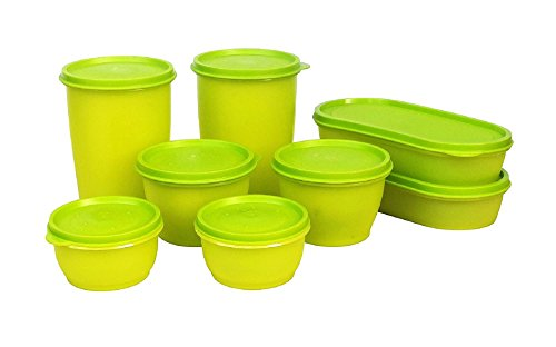 Princeware Modular Plastic Container Set, 8-Pieces, Green
