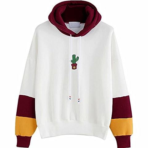 Reaso Femmes Sweat à capuche Casual Pull Manche longue Hoodie Sweatshirt Cactus Impression Hooded Pullover Tops Blouse (S, Du Vin)