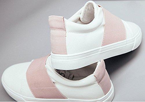 Minetom Damen Sommer Herbst Segeltuch Slip-On Schuhe Loafer Schuhe Mode Weiße Schuhe Rosa