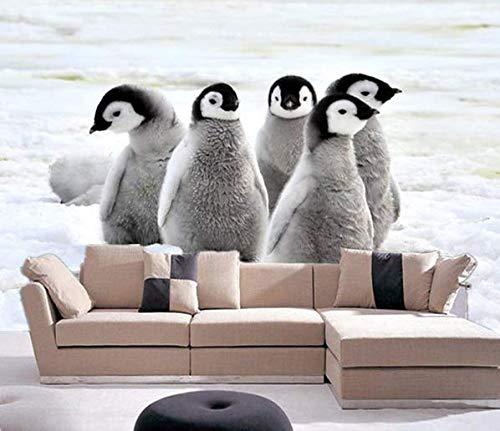 Fototapete Tapete Wanddeko Home Decor 3D Kaiser Pinguin Küken Auf Dem Schnee Selbstklebende Tapete Kinder Schlafzimmer Wandbild, 200Cmx140Cm