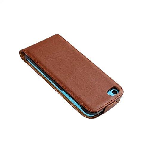 MOONCASE Coque en Cuir Housse de Protection Étui à rabat Case pour Apple iPhone 5C Noir Brun