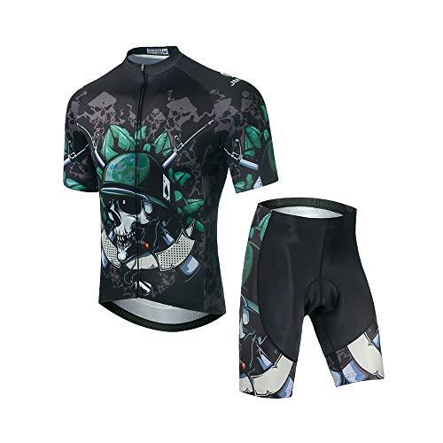 Jmazz Radtrikot Set Kurzarm Fahrradbekleidung Schnelltrocknend + Radhose mit Sitzpolster für Radfahren MTB Jogging -