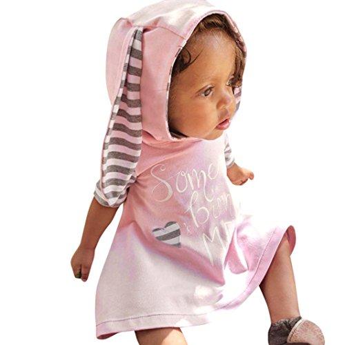 Amlaiworld Baby Mädchen Hasen Ohren Kapuzenpullis Säugling gestreift Druck gemütlich t-Shirt Kleider,0-18Monate (Rosa, 12 - Niedliche Kostüm Tragen Arbeit