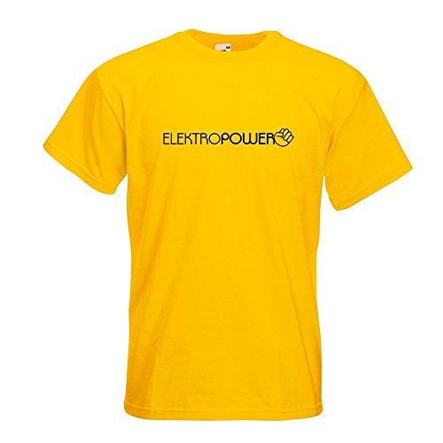 KIWISTAR - Elektropower T-Shirt in 15 verschiedenen Farben - Herren Funshirt bedruckt Design Sprüche Spruch Motive Oberteil Baumwolle Print Größe S M L XL XXL Gelb