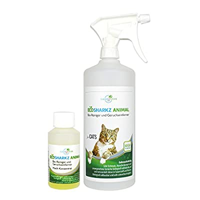 Best Cat Urine Cleaner Spray - Cleans Litter Tray: Ecosharkz ANIMAL for CATS Probiotic Cleaner and Deodorizer for Cats (40ml Concentrate yields 1-2 Litres Ready to Use)