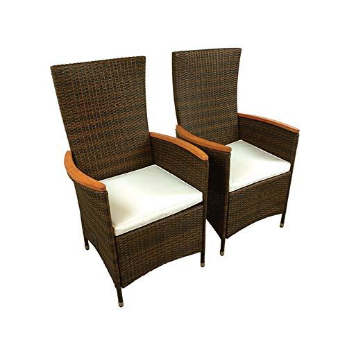 Indoba 2 x Designer Gartenstuhl Rattan verstellbare Lehne verstellbar Holz Garten Stuhl Sessel