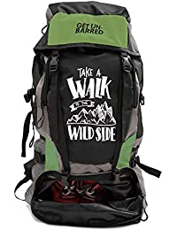 Mufubu Presents Get Unbarred 55 LTR Rucksack for Trekking, Hiking with Shoe Compartment - Black/Green