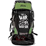 Mufubu Presents Get Unbarred 55 LTR Rucksack for Trekking, Hiking with Shoe Compartment - Black/Grassy