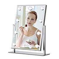 BEAUTME Hollywood Style Vanity Mirror With LED Lights,Illuminated Standing Talbetop Cosmetic Makeup Mirror With 9 Dimmable Bulbs Touch Control (Silver)