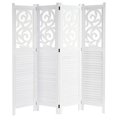 Mendler Paravent Istanbul, Raumteiler Trennwand Sichtschutz, Ornamente ~ 170x160cm, weiß