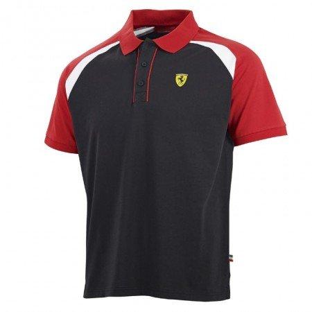 Branded London Scuderia Ferrari Herren Short Sleeve Rennen Polo-Hemd - Schwarz/Rot - L
