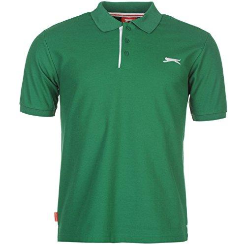 Slazenger Herren Einfarbig Polo Shirt Passform Klassisch Grün UK XX Large