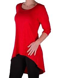 Eyecatch TM Oversize - Lexy Frauen Eingetaucht Fishtail Hem Longline-Top mit 3/4 Ärmeln Übergröße Damen Top