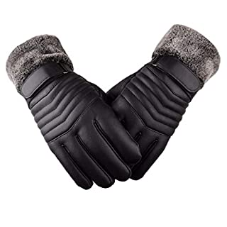 ZXW gloves- Leather Gloves Plus Thick Warm Riding Windproof Cold Cotton Gloves (Color : Arrow black)