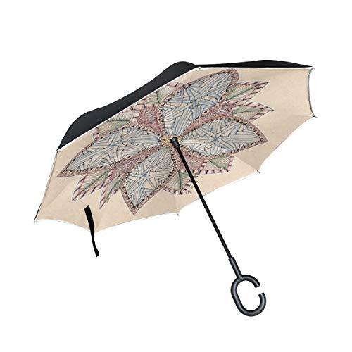 Paraguas inversos con manija en Forma de C Mandala con diseño Floral Simple A Prueba de Viento Anti-UV Plegable para automóvil