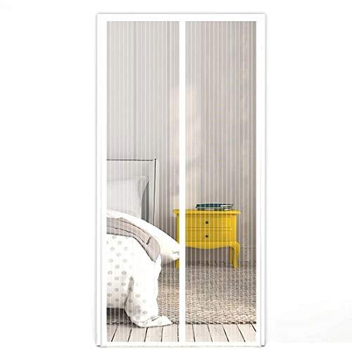 Moskitoschutz Fliegengitter Magnet-Vorhang Türvorhang Insektenschutz magnetisch automatisches Schließen 210x100 cm für Balkontür, Terassentür, Wohnzimmer, Schlafzimmer, einfache Montage in Weiß - Küche Terrasse Vorhänge