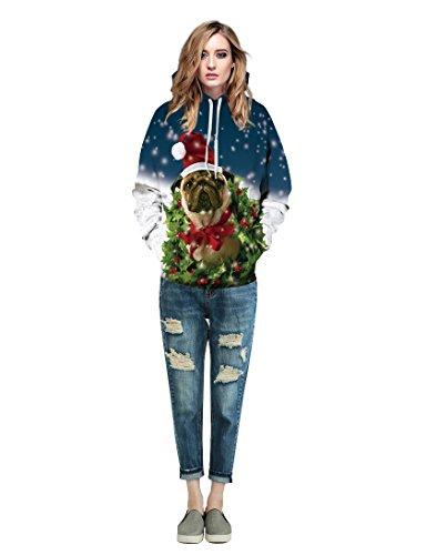 KamiraCoco Unisex 3D Digital Druck Bunte Kapuzenpullover Hoodie Langarm Damen Und Herren Cartoon Weihnachten Sweatshirt Pullover Happy Weihnachten