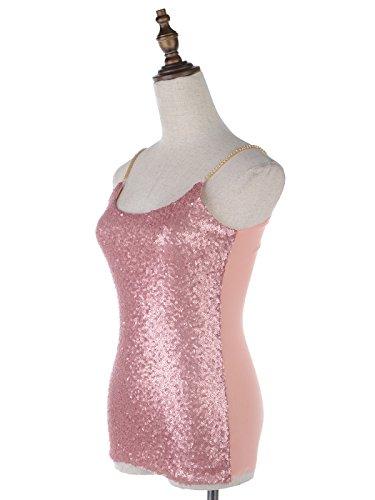 Anna-Kaci femmes Étincelle Brillance Glitter Mini paillettes métalliques chaîne d'effets du cou bateau sans manches Tank Top Spaghetti rosa1