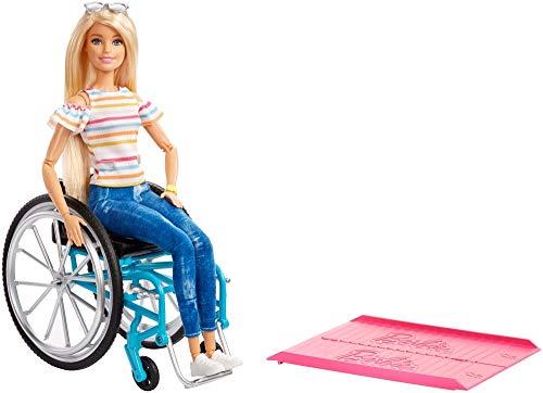 Barbie GGL22 - Rollstuhl und Puppe blond gelenkig, Puppen und Spielzeug ab 3 Jahren