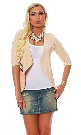 10475 Fashion4Young Damen Kurzjacke Blazer Jäckchen Jacke kurze Bolero-Design verfügbar in 6 Farben (34/36, Beige)