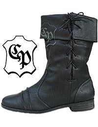 Botas de estilo medieval, color negro