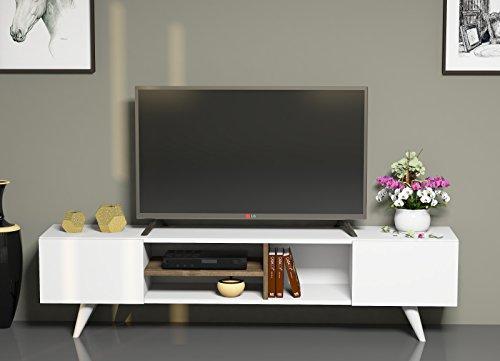 DORE Ensemble de meubles de salon - Blanc / Noyer - Meuble TV bas dans es couleurs brillantes avec étagères en moderne design