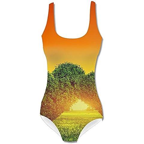 Swimwear Heart Shape Trees Women's Swimsuit, Asian Size