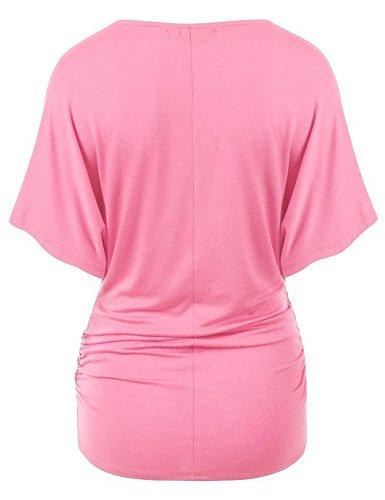 Camicette T-shirt Top Manica Corta Elegante e Confortevole Pink