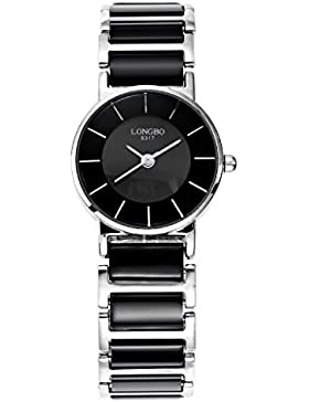 Longbo Luxus Damen-Fall rund Edelstahl Silber Link & Schwarz Keramik Band Armband Uhren Einfache Wasserdicht Paar...