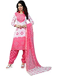 Taboody Empire Quarter Pink Satin Cotton Handi Crafts Bandhani Work With Straight Salwar Suit For Girls And Women