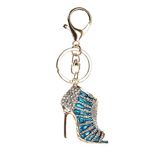 Demiawaking Mädchen Damen Schuh hohe Fersen Charme Handwerk Legierung Schmetterling Form Schlüsselanhänger , Schlüsselanhänger als Geschenk für Auto, Damen Anhänger Handtasche, Frauen Hängende Dekoration (Blau)