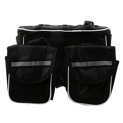 Fahrradtasche Werkzeugtasche Rahmentaschen, Steuerrohr Doppeltaschen mit Stauschutz Schwarz
