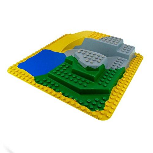 große 3D 3 D Platte 38 x 38 cm 24 x 24 Noppen gelb grün grau blau Felsen Zoo Wasser Lego Duplo D09