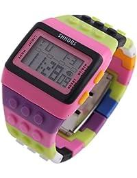 Reloj de pulsera de multifuncion de color - SHHORS Reloj de pulsera de nino LED impermeable de multifuncion de arco iris Reloj de deportes de natacion Reloj de pulsera digital (Estilo 8)