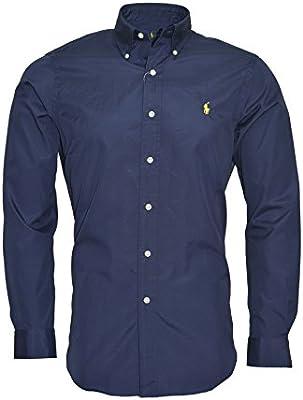 Polo Ralph Lauren camisa para hombre Custom Fit Plain azul marino manga larga