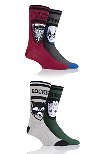 Herren 4 Paar SockShop Guardians of the Galaxy Groot, Rocket, Star-Lord und Drax Baumwollsocken - Sortiert 40-45