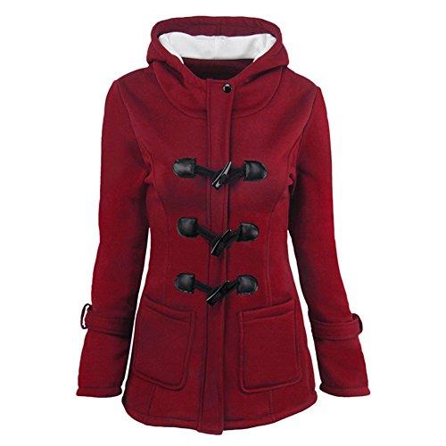 Cappotti Donna Grande Taglia - Giacche Invernali Autunno Outerwear Cerniera Outfit cotone Nero Rosso Grigio Verde Caffè 6 Colori 9 Taglie S-6XL Yuxin Vino Rosso