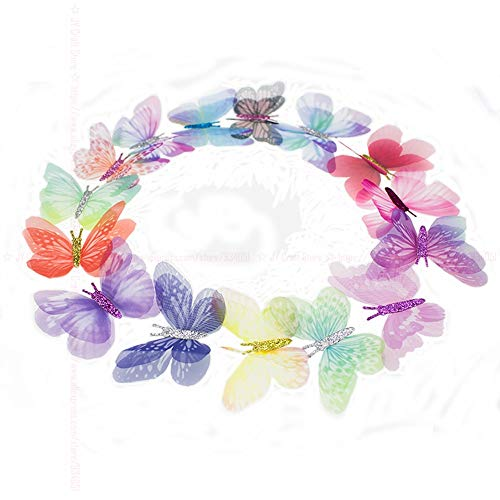 100 PCS Gradienten Farbe Organza Stoff Schmetterling Appliques 60mm Transluzenten Chiffon Schmetterling für Party Decor, Puppe Verschönerung - Puppe Applique