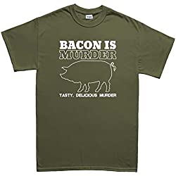 Bacon is Murder Funny Baconstrips Epic Meal T Shirt (Tee) 5XL Military Green