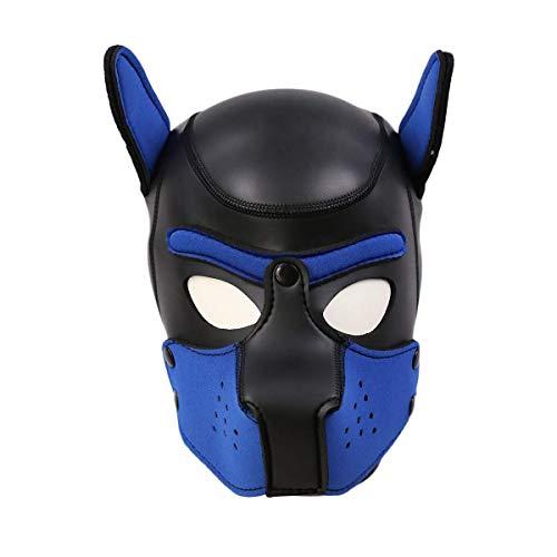 Frecoccialo Erwachsene Unisex Rollenspiel Hund Maske Cosplay Kopf Maske mit Ohren 4 Farbe Paare Spielzeug (Blau, Eine Größe)