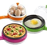 P YU 2 In 1 Electric Omelette Pan/Frying Pan/Egg Boiler New Compact And Versatile Egg Boiler + Non-Stick Electric Frying Pan