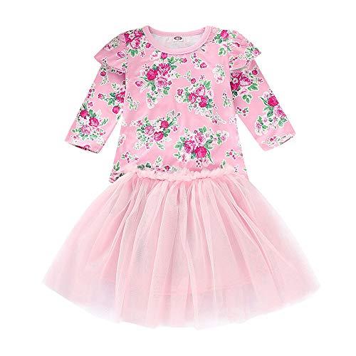 Rock Set 12M-5T Kinder Langarm Floral Tops Net Rock Set Kleinkind Kinder Baby MäDchen Mit T-Shirt Prinzessin Tulle Party Dress(Rosa,90) ()